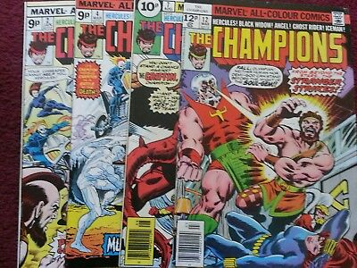 The Champions 2,4,7,12 marvel comics 1970s Hercules Black Widow Ghost Rider