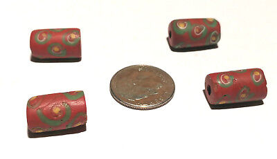 Four Antique Venetian Red Fancy African Glass Trade Beads