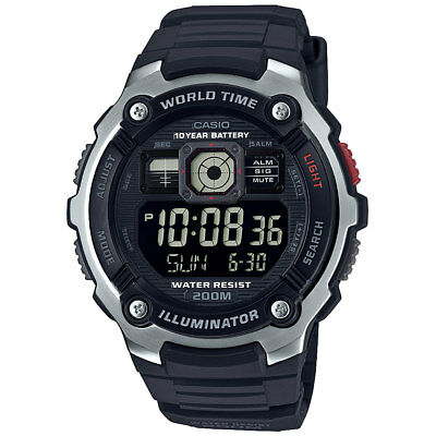 Casio AE2000W-1BV Men's World Time 5 Alarms Chronograph  Sports Digital Watch