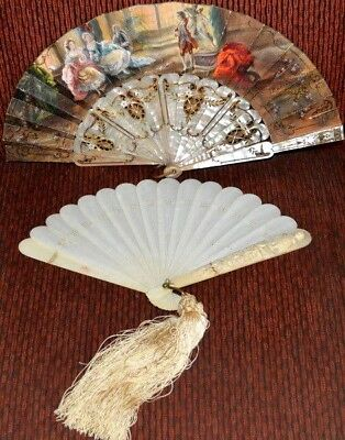 Antique Pair Fan French Mother of pearl and Fan Oriental European 18 Century
