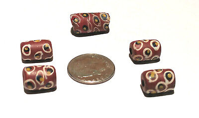 Five Antique Venetian Red Fancy African Glass Trade Beads