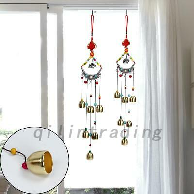Wind Chimes with 8 Bells Chinese Knot Mascot Luck Outdoor Decor Garden Patio