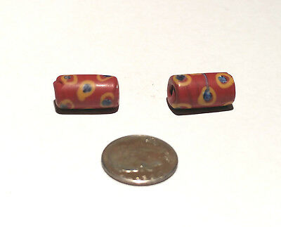 Pair of Antique Venetian Red Fancy African Glass Trade Beads
