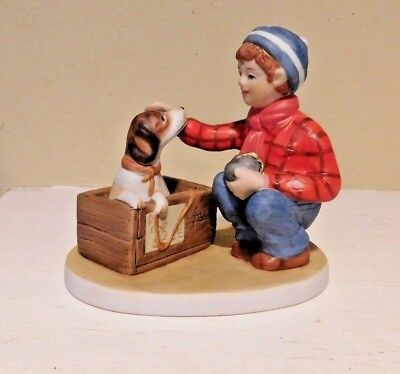 A BOY MEETS HIS DOG Figurine Norman Rockwell 1991