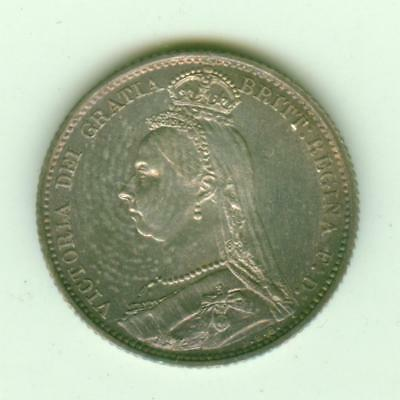 British Silver Uncirculated 1887 6 Pence-Lot D3