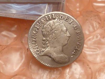 1763 George III Colonial Silver Threepence Has Detail #2