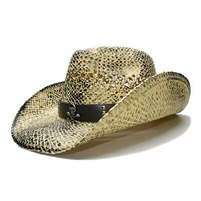 63018a00b33 Black Wide Brim Straw Sun Beach Cowboy Western Hollow Out Hat Skull Band  58cm