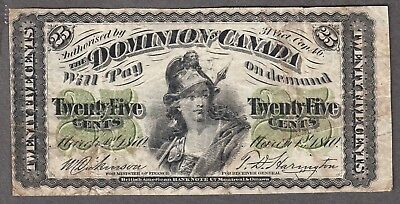 1870 Dominion of Canada - 25 Cents - Fine - Plain Series - DC1a - AA05