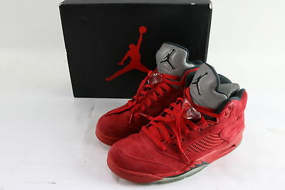 huge discount 59455 27937 NIKE 136027-602 AIR Jordan 5 Retro Red Suede University Red Black Size 10  Shoes