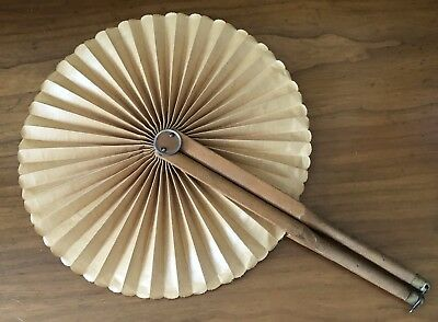 Antique Victorian Starched Cotton Brass Tipped Folding Circular Hand Fan