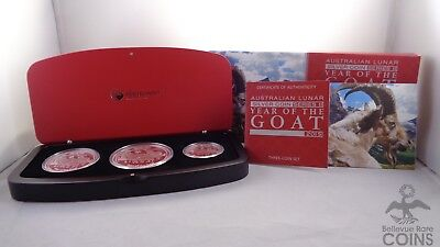 2015 Australia 3-Coin Silver Year of the Goat Proof Set | Perth Mint Series 2