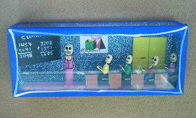 MEXICAN Hand Made Folk Art Nicho BOX SKELETONS TEACHER & STUDENTS Day Of Dead