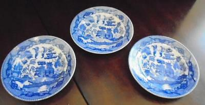 3 Made in Japan Blue Willow Child's Set 4 1/2 Inch Toy Plates VGC!