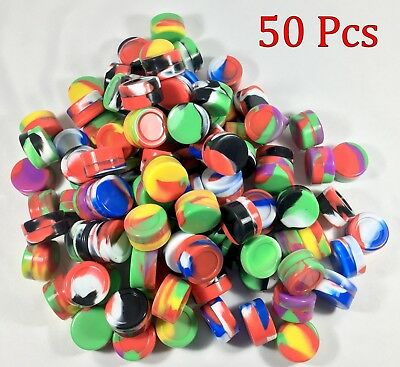 50 5ml Silicone Jar Containers Nonstick Mixed color New 5 ml wholesale lot