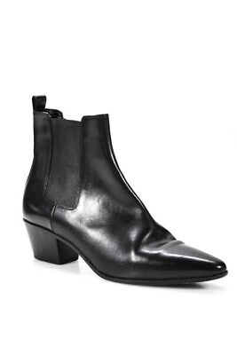 Saint Laurent Black Leather Pointed Toe Ankle Boot Size 40 10