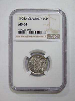 Germany Empire 1905 A 10 Pfennig Ngc Ms64 Graded Toned World Coin Collection Lot