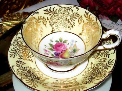 Beautiful Vintage Pink Rose Gold Filigree Yellow Paragon Tea Cup and Saucer Set