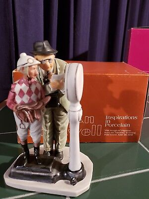 "NEW Norman Rockwell The Weigh In Gorham 1974 6.75"" Porcelain Figurine Jockey"