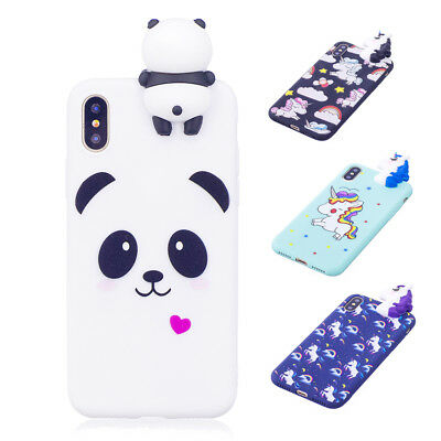 3D Panda Unicorn Phone Case TPU Silicone Cover For iPhone X 8 7 6/6S Plus 5 SE