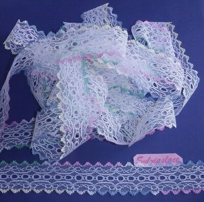 Quad-Coloured Edge Eyelet Knitting Lace  20 m x 35 mm (Various Colours)