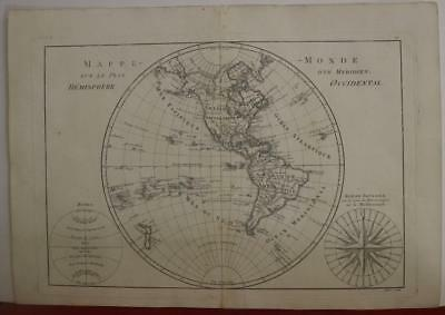 American Continent New Zealand Western Hemisphere 1787 Bonne Antique World Map
