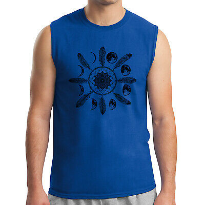 Native American Dream Catcher Men's Sleeveless Moon Phases Muscle Tee - 1999C