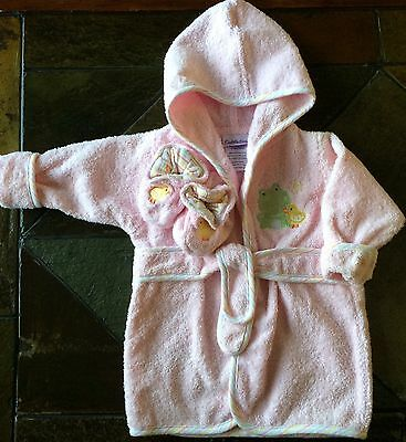Girls Robe Size 0  9 Months Baby New Nwot Pink Terry Cloth Slippers bathrobe