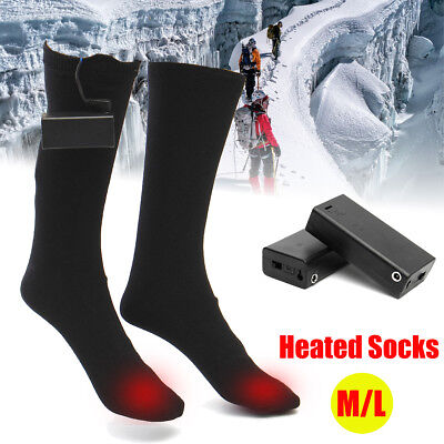 AU Electric Rechargeable Battery Warm Heated Socks Warmer Heater Skiing Thermal