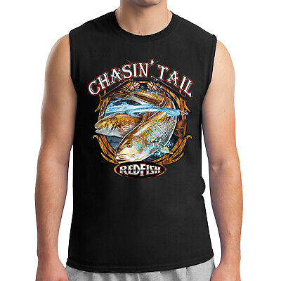 827d87e94b067 Chasing Tail Redfish Men s Sleeveless Fishing Theme Red Fish Muscle Tee -  2088C