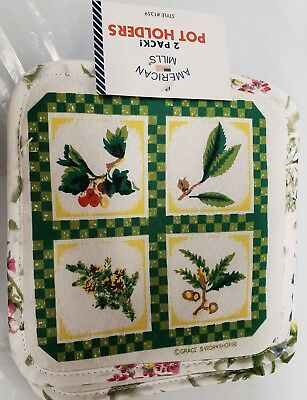 """Set of 2 Printed POT HOLDERS, 7"""" x 7"""", 4 HERBS IN SQUARES by AM"""
