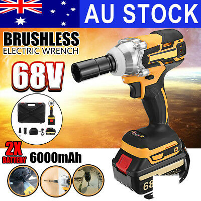 68V Cordless Electric Impact Wrench Brushless Rattle Gun Car Torque Driver Tool