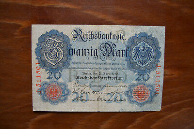 Reichsbanknote Zwanzig Mark 21. April 1910 Ro 40 a