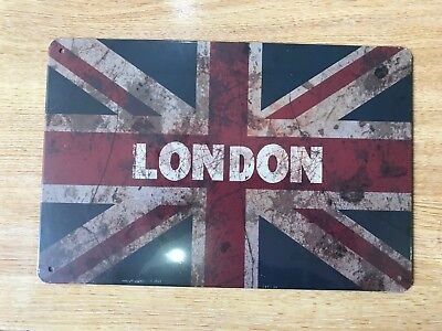 Vintage Retro Style Metal Tin Sign London Union Jack Cave Wall Home