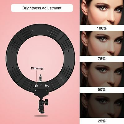 """18"""" LED Ring Light Dimmable 5500K Continuous Lighting Photo Video Stand Kit US"""