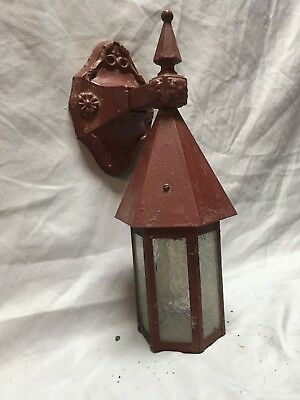Antique Arts Crafts Cast Iron Tin Porch Sconce Light Fixture Old Vtg 259-18E