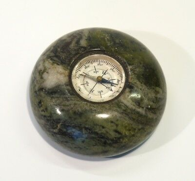 Early 20th Century Antique Desk Compass Paperweight Inset into Green Marble.
