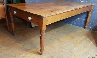 Large Victorian English country Farmhouse Pine plank top Kitchen Dining Table
