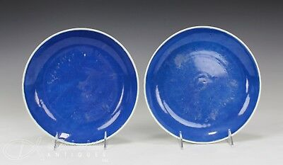 Pair Of Old Chinese Monochrome Blue Glazed Porcelain Plates