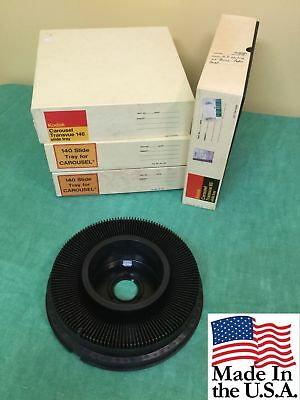 Lot of 4 KODAK CAROUSEL TRANSVUE 140 SLIDE TRAYS Free Ship Projection Show USA