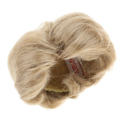Imitation Mohair Short Straight Wig forUncle Doll DIY Dress Accs Light Brown