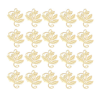 50X Hollow Metal Filigree Flower Charms Jewelry for Hairpin Craft Decor Gold