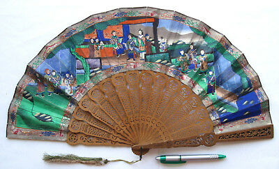 Antique Chinese Carved Sandalwood 1000 Faces Export Fan 1850-1870 清朝 (咸丰帝 / 同治帝)