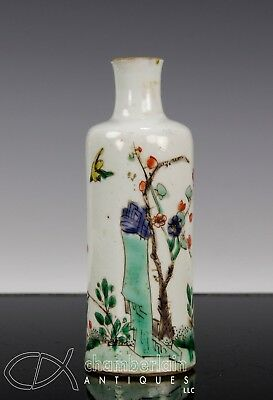 Antique Chinese Famille Verte Porcelain Bottle Vase - Kangxi Period