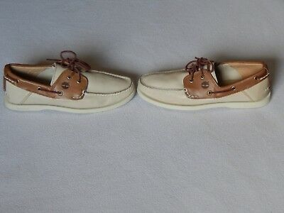 Timberland Classic Heritage 2 Eye Men White/brown Leather Boat Deck Shoes Uk 8.5