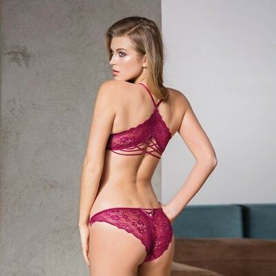 Damen Sexy Dessou Set Push-up BH und String-Slip Spitze 4721