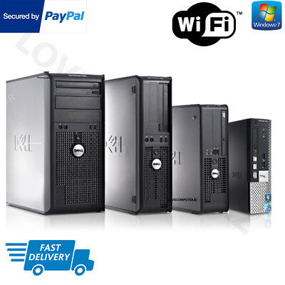 Windows 7 Full Dell Computer Desktop ,tower  Pc 4Gb Ram 160Gb Hdd Wifi