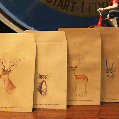 10 Pcs Deer Painting Paper Candy Bag Envelopes Christmas Party Favor Gift Bag