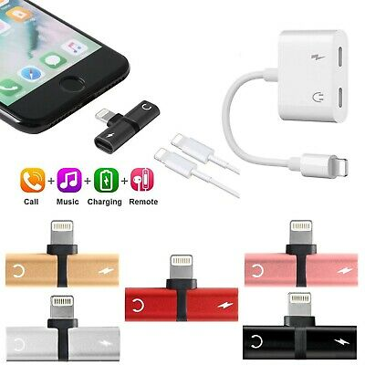 Dual 2in1 Headphone AUX Audio & Charger Adapter Splitter For iPhone X XR 7 8 6