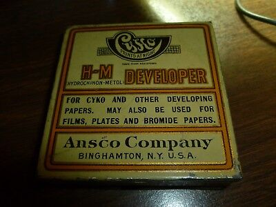 OLD VINTAGE TIN BOX Ansco CYKO N-A Developer Tin Box for Developing Papers