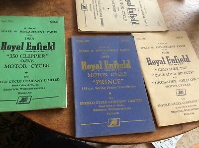 4 Lists Of Spare & Replacement Parts For Different Royal Enfield Motor Cycles